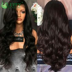 Unprocessed Full Lace Human Hair Wigs For Black Women Lace Front Wigs Natural Wave Virgin Brazilian Full Lace Wigs With Bangs Email: flowerseason@luffywig.com