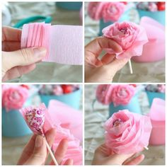 Pretty In Pink Handmade Lollipop Flowers Tutorial A Perfect Gift For Friends And V-Day Kids Events, Diy Flowers, Gifts For Friends, Craft Projects For Kids, Crafts For Kids To Make, Crafts For Girls, Origami, Easy Toddler Crafts, Candy Bouquet