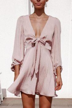 V-Neck Fairy Knot Lantern Sleeve Dress Look Fashion, Womens Fashion, Fashion Design, Casual Dresses, Fashion Dresses, Pink Dress Casual, Mode Ootd, Evening Dresses, Summer Dresses