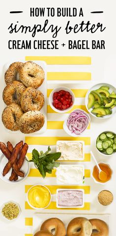 A bright, sunshiney bagel bar with all the fixins, like this one from is the absolute best way to wake up. Learn how to build a simply better cream cheese and bagel bar for your next brunch here. Bagel Bar, Hot Dog Bar, Office Party Foods, Office Parties, Work Party, Brunch Recipes, Breakfast Recipes, Cheese Bagels, Party Sandwiches