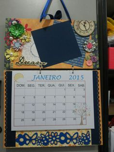 Calendário de Parede (cartonagem + scrapbook)