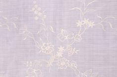 Embroidered Linen & Silk Decorator Fabric in Ice $11.95 per yard