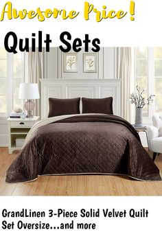 (This is an affiliate pin) GrandLinen 3-Piece Solid Velvet Quilt Set Oversize (115' X 95') Bedspread Coverlet King Size (Brown, Ivory)