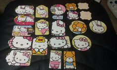 Hello Kitty Scrapbooking die cuts from recycled book by amylaugh, $5.59
