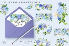 Serene - Flower Clipart Set by Twigs and Twine on @creativemarket