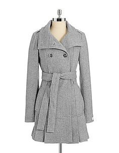 CALVIN KLEIN Double-Breasted Funnel Neck Wool Coat