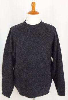 Mens 100% Wool Crew Neck Sweater Timberland Logo Grey Large L #Timberland #Crewneck