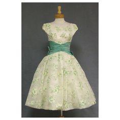 Wonderful Flocked Chiffon Cocktail Dress w/ Balloon Hem Draper Doll... ❤ liked on Polyvore featuring dresses, babydoll dress, baby doll dress, beige chiffon dress, chiffon babydoll dress y vintage baby doll dress