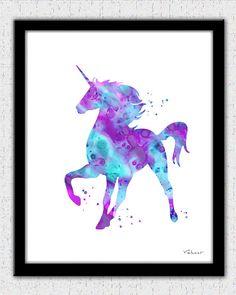 Unicorn print pink purple aqua unicorn by FluidDiamondArt on Etsy