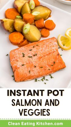 When you need a healthy weeknight meal that is ready in 30 minutes, try this Instant Pot Salmon and Potatoes! This dish is made gluten-free, Whole30, and grain-free, and is so delicious. Wild-caught salmon is rich in omega-3 fatty acids and is part of a clean eating approach. This easy dinner is a game-changer for busy families. Dinner Recipes Easy Quick, Vegetarian Recipes Dinner, Salmon Recipes, Seafood Recipes, Light Chicken Recipes, Whole30 Recipes, Healthy Recipes, Instant Pot Fish Recipe, Healthy Weeknight Meals