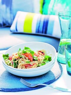 Capellini with salmon, chilli, rocket & capers - Massimo Mele