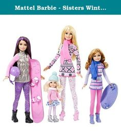 Mattel Barbie - Sisters Winter Holiday Fun Exclusive Dolls. Every day can be a snow day with Barbie and her sisters! All four sisters are included together in this pack ready for a cool day of outside winter play! Barbie, Stacie, Skipper and Chelsea dolls are dressed in seasonal clothing and come with a pink snowboard and purple sled that a doll can clip into for snow-inspired fun and adventure. Each sister is fashionably cool in a winter outfit that showcases her unique style. Barbie…