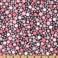 Michael Miller Play Dot Bloom Grey from @fabricdotcom  Designed for Michael Miller, this cotton print fabric features multi-size polka dots. Colors include shades of pink and grey on a grey background.