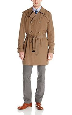 Tommy Hilfiger Men's Felix Belted Trench Coat, Olive, 42 Regular ❤ Tommy Hilfiger Mens Outerwear Child Code