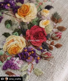 """746 Me gusta, 7 comentarios - Embroidery.world (@embroidery.world) en Instagram: """"#Repost @sina_crafts with @make_repost ・・・ . . #embroidery #embroideryart #embroiderydesign…"""" Embroidered Roses, Embroidered Clothes, Embroidery Art, Embroidery Designs, Silk Ribbon, Rococo, Needlework, How To Make, Handmade"""