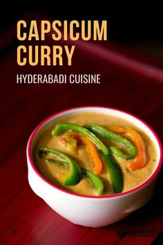 This delicious Hyderabadi-style capsicum curry is just what you need to spice up your dinner time! It has delicious, complex, mouth-watering flavors, a delicious lip-smacking capsicum masala curry! Vegetarian Curry, Vegan Curry, Vegetarian Recipes, Mushroom Recipes, Curry Recipes, Vegetable Recipes, Vegetable Curry, Vegetable Dishes, Capsicum Curry Recipe