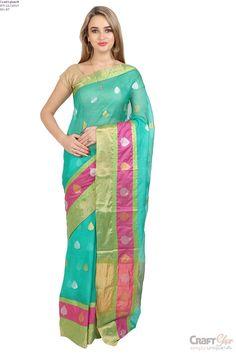 Craftghar Presents This Beautiful Kota Doria Cotton Blue Gold Aari Work Embroidered Saree Sari With Blouse