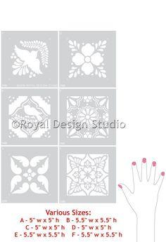 Talavera Mexican Tiles Wall and Furniture Stencil