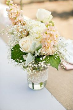 mason jar floral romantic reception wedding flowers,  wedding decor, wedding flower centerpiece, wedding wflower arrangement, add pic source on comment and we will update it. www.myfloweraffair.com can create this beautiful wedding flower look.