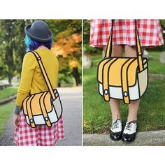 Hilarious, fun, trippy. 2D bags cause hysteria everywhere you wear them.