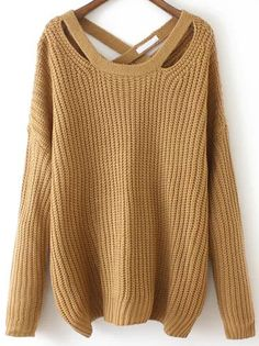 Khaki Crisscross Back Sweater