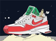 Recreating classic runners and basketball shoes as vehicles of  intergalactic flight 3a492b7f1