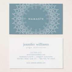 Elegant Mandala Namaste Yoga Blue Business Card - My Original Ideas Mandala Namaste, Namaste Yoga, Ayurveda, Business Card Design, Business Cards, Presentation Cards, Business Invitation, Kid Poses, Yoga For Kids