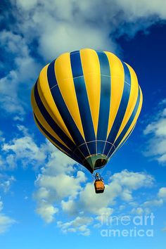 Yellow And Blue Striped Hot Air Balloon: See more images at http://robert-bales.artistwebsites.com/