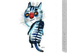 The skeptical blue cat