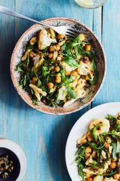 Lemony Pasta with Cauliflower, Chickpeas, And Arugula Recipe   Epicurious // pasta // Lemon // cauliflower // chickpeas // arugula // vegetarian // veggies // recipe // healthy // dinner //