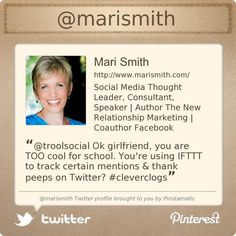 Mari is always providing great tips, content and a few laughs. Definitely one to follow!  @marismith's Twitter profile courtesy of @Pinstamatic (http://pinstamatic.com)