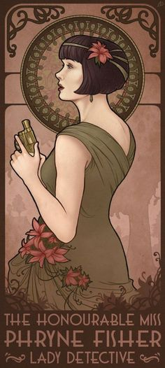 Phryne Fisher from Miss Fisher's Murder Mysteries in an art nouveau style