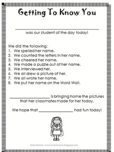 Beginning of the Year Getting to Know You activities for Kindergarten, including an All About Me chart and a name practice freebie! Beginning Of School, First Day Of School, Back To School, School Stuff, Kindergarten Readiness, Kindergarten Classroom, Classroom Organization, Classroom Management, Classroom Routines