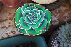 Succulent Stone Hand Painted River Stone by ArtByEvaMarie on Etsy