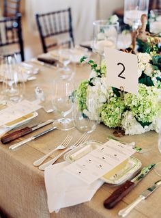 #place-settings, #hydrangea  Photography: Charlotte Jenks Lewis Photography - charlottejenkslewis.com  Read More: http://www.stylemepretty.com/2014/11/20/elegant-beach-wedding-in-bridgehampton-new-york/