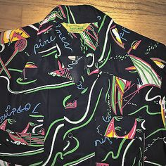 AMAZING Vintage 1940s 50s black atomic rockabilly Hawaiian shirt