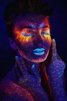 Read more body painting art, neon painting, body art paintings, paintings o Uv Makeup, Makeup Art, Glitter Makeup, Makeup Ideas, Beauty Makeup, Exotic Makeup, Fairy Makeup, Mermaid Makeup, Makeup Lipstick