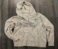 Night Fishing Full Zip Hoodie- Oatmeal