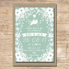 Love Birds Wedding Invitation Mint Green Wedding by papertreemedia