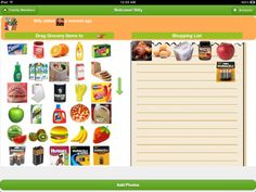 Visual Grocery Shopping List ($0.00) The app is a photo-based grocery shopping list. No typing is needed. Just swipe and tap and snap photos. Shopping list creation and sharing will be much easier, even usable by people who can't type or read.