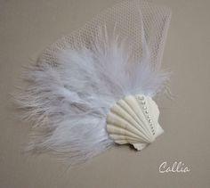 Shell Hair Accessories Shell Fascinator Rhinestone by calliadesign