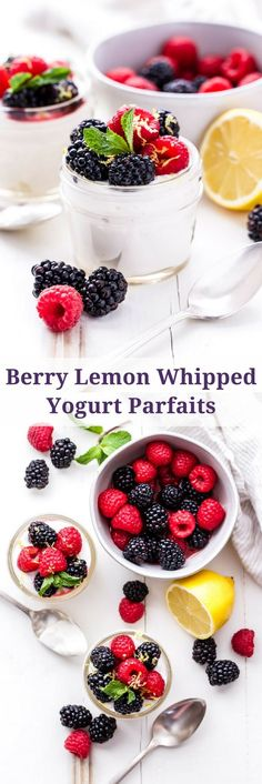 Berry Lemon Whipped Yogurt Parfaits are the perfect lighter dessert to make this spring! Greek yogurt, whipping cream and lemon are whipped together and topped with lightly sweetened berries. Creamy and sweet without being over the top!#berries #lemon #greekyogurt #parfait #dessert