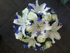 white roses and lillys and delphinium bridal bouquets - Google Search