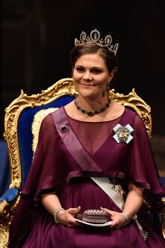 Crown Princess Victoria of Sweden attends the Nobel Prize Awards Ceremony at Concert Hall on December 10, 2015 in Stockholm, Sweden.