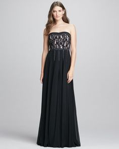 Strapless Lace Studded Gown by Rebecca Taylor at Neiman Marcus.