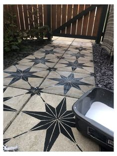 How to makeover a concrete slab patio/path for under 40 > Let's Talk. How to makeover a concrete slab patio/path for under 40 > Let's Talk. Concrete Patios, Painted Patio Concrete, Concrete Backyard, Painting Concrete, Concrete Tiles, Paving Slabs, Paving Stones, Stepping Stones, Outdoor Spaces