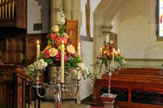 Beautiful Spring Wedding at St Anne's Church Singleton; Two of our Regency Candelabras framed the ceremony space perfectly