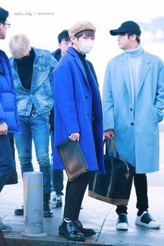 V ❤ BTS at Incheon airport heading to Nagoya, Japan #BTS #방탄소년단