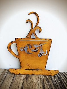 Laser Cut Metal Teacup Kitchen Wall Art Goldenrod Yellow Shabby Chic Rustic French Country