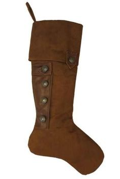 Suede & Leather Christmas Stocking Pewter Buttons, Brown